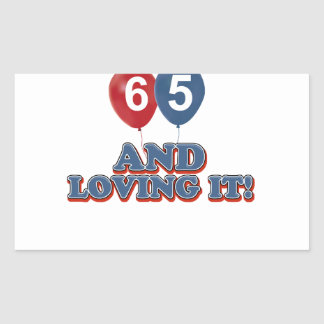 65 year old design rectangular sticker