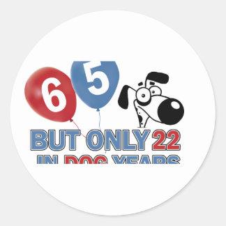 65 year old design round sticker