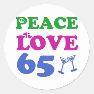 65 year old design classic round sticker