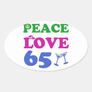 65 year old design oval sticker