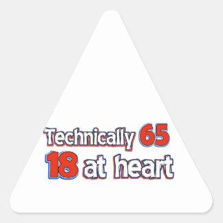 65 year old design triangle sticker