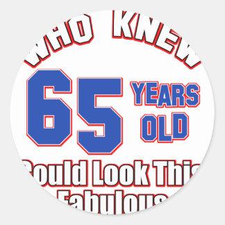 65 year old design round stickers