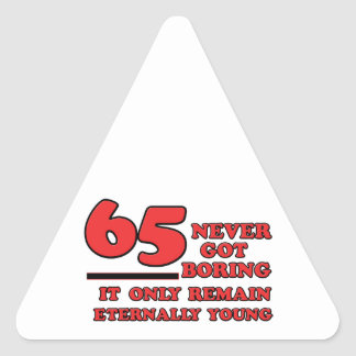 65 year old design triangle sticker
