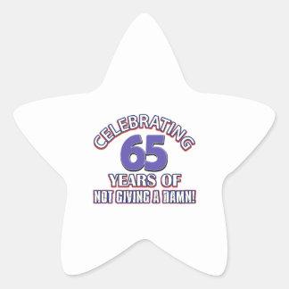 65 year old designs star sticker