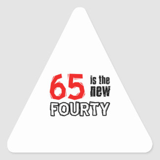 65 year old designs triangle sticker