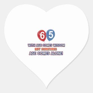65 year old wisdom birthday designs heart sticker