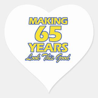 65 YEARS OLD BIRTHDAY DESIGNS HEART STICKER
