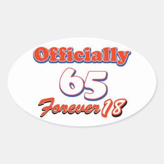 65 years old birthday designs oval sticker