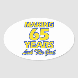 65 YEARS OLD BIRTHDAY DESIGNS OVAL STICKER