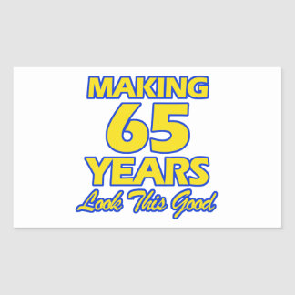 65 YEARS OLD BIRTHDAY DESIGNS RECTANGULAR STICKER