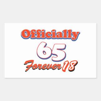 65 years old birthday designs rectangular sticker