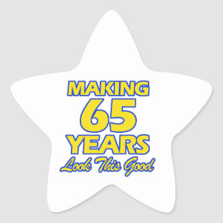 65 YEARS OLD BIRTHDAY DESIGNS STAR STICKER
