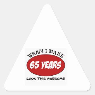 65 YEARS OLD BIRTHDAY DESIGNS TRIANGLE STICKER