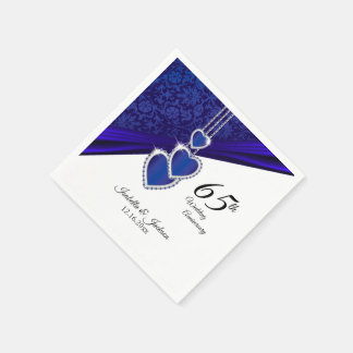 65th / 45th Wedding Sapphire Anniversary Design Disposable Serviette