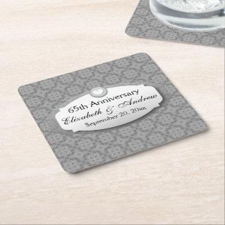 65th Anniversary Wedding  Diamond Square Paper Coaster