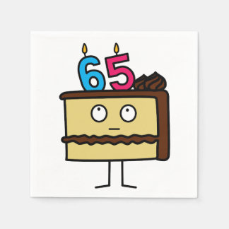 65th Birthday Cake with Candles Disposable Napkins