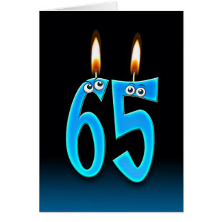 65th Birthday Candles Greeting Cards