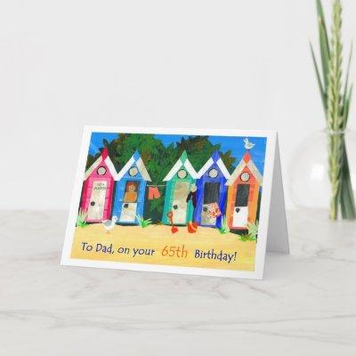 65th Birthday Card for a Father - Beach Huts   Zazzle.c