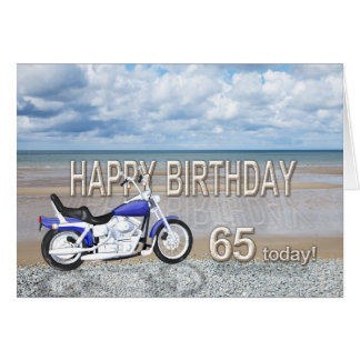 65th birthday card with a motor bike