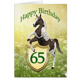 65th birthday card with a rearing horse