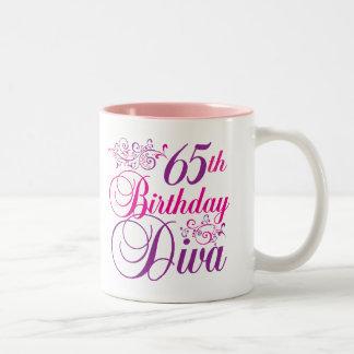 65th Birthday Diva Two-Tone Mug