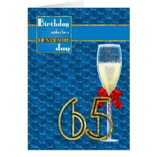 65th Birthday - Geometric Birthday Card Champagne