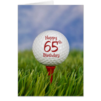 65th Birthday Golf Ball Card