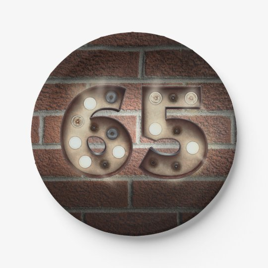 65th birthday marquee sign on brick wall paper