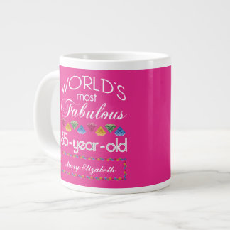 65th Birthday Most Fabulous Colorful Gems Pink Jumbo Mug