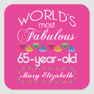 65th Birthday Most Fabulous Colorful Gems Pink Square Sticker