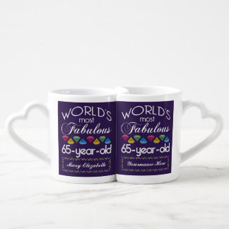 65th Birthday Most Fabulous Colorful Gems Purple Lovers Mug