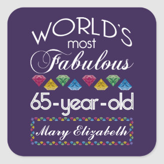 65th Birthday Most Fabulous Colorful Gems Purple Square Sticker