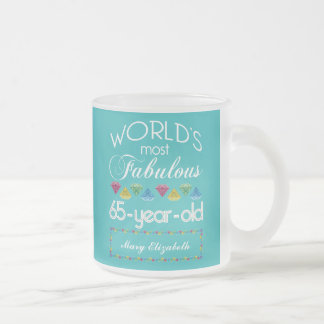 65th Birthday Most Fabulous Colorful Gems Turquois Frosted Glass Coffee Mug