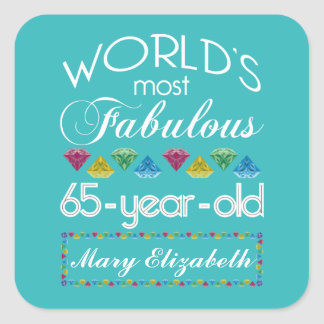 65th Birthday Most Fabulous Colorful Gems Turquois Square Stickers