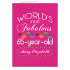 65th Birthday Most Fabulous Colourful Gems Pink Card