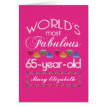 65th Birthday Most Fabulous Colourful Gems Pink Greeting Card