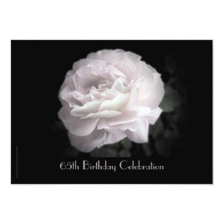 65th Birthday Party Celebration Pale Pink Rose 13 Cm X 18 Cm Invitation Card