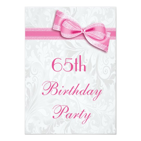 65th Birthday Party Damask and Pink Faux Bow