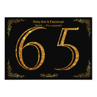 65th Birthday party,Gatsby styl,black gold glitter Card