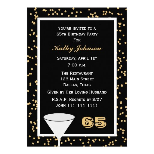 65th Birthday Party Invitation -- 65 and Confetti Announcements