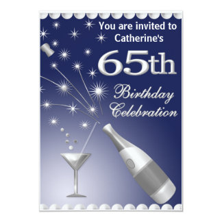 65th Birthday Party Invitation - Blue & Silver