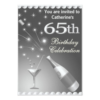 65th Birthday Party Invitation - Silver