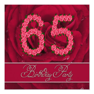 65th birthday party invitation with roses