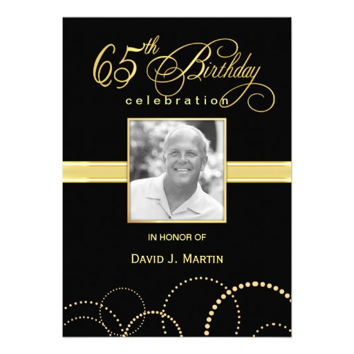 65th Birthday Party Invitations - Photo Optional