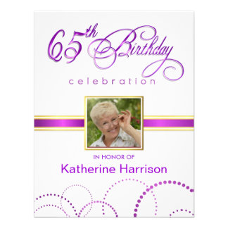 65th Birthday Party Invitations - with Monogram