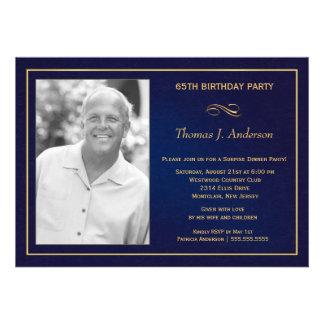 65th Birthday Party Photo Invitations  Royal Blue