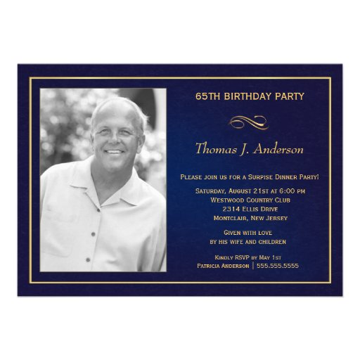 65th Birthday Party Photo Invitations  Royal Blue