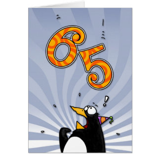 65th Birthday - Penguin Surprise Card