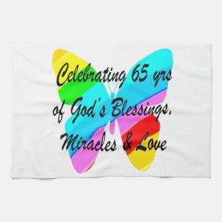 65TH BIRTHDAY RAIN BUTTERFLY DESIGN TEA TOWEL