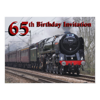 65th Birthday Steam train Invitation